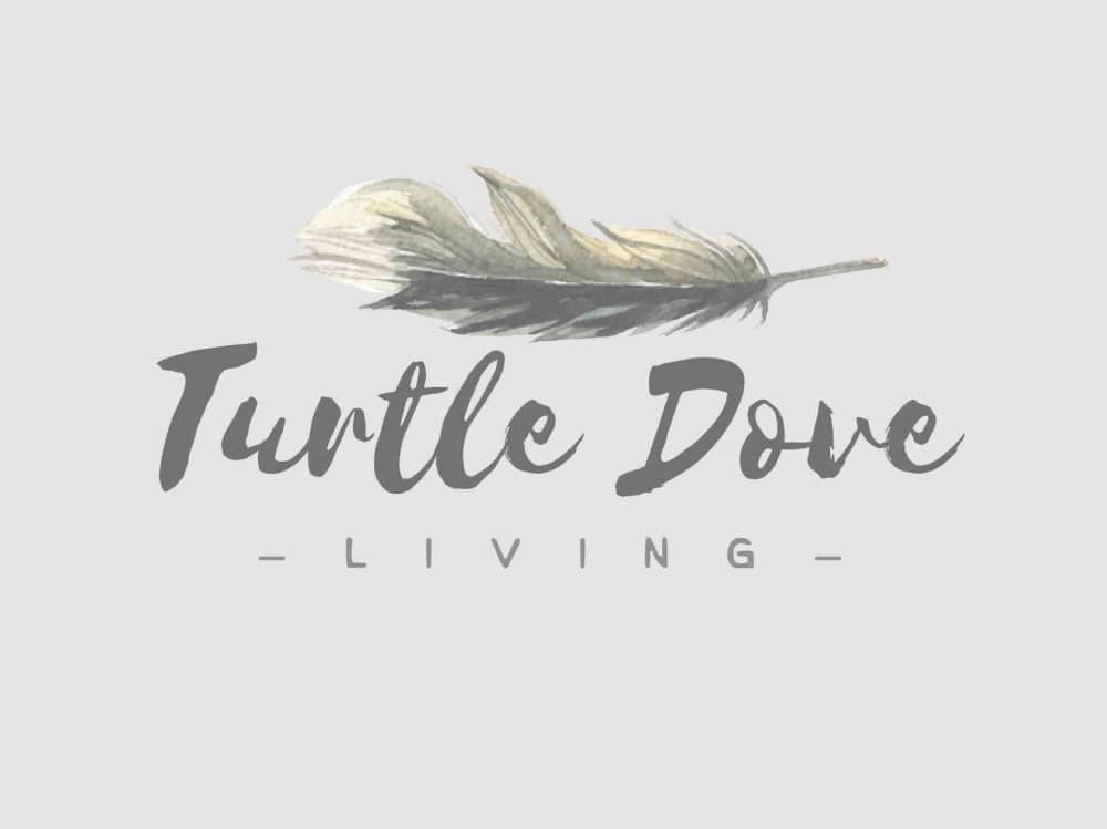 Turtle Dove Living Logo grey background feather and calligraphy writing