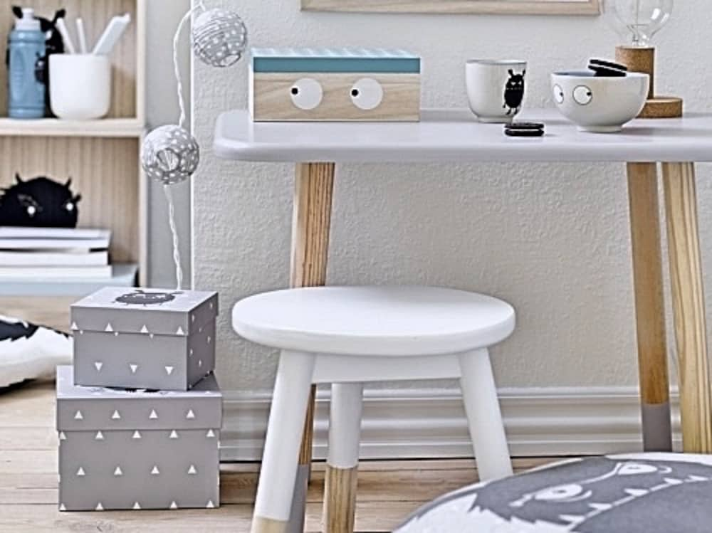 Turtle Dove Living Scandi white and wood desk and stool storage box with eyes and grey storage boxes