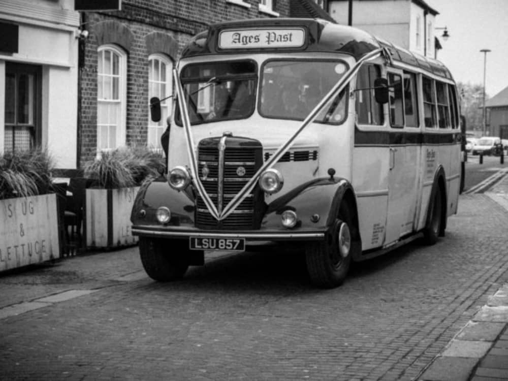 1940s vintage bus in Market Place Newbury Berkshire