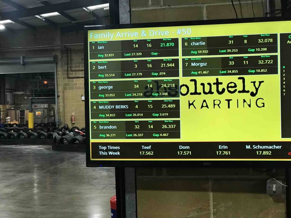 Absolutely Karting Maidenhead Screen displaying the results