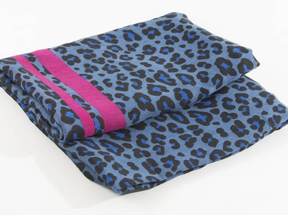 Gift Pop blue leopard print scarf with pink stripe trim