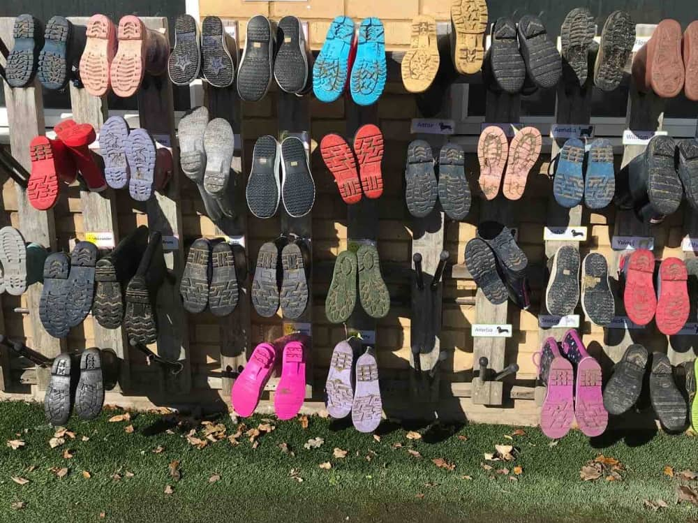 Lambrook School Berkshire Pre-pre wellies neatly hanging outside the classroom