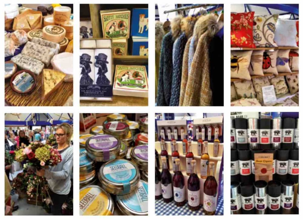 RDA Newbury Autumn Gift Fair collage of sellers cheese can does hats clothes and wine