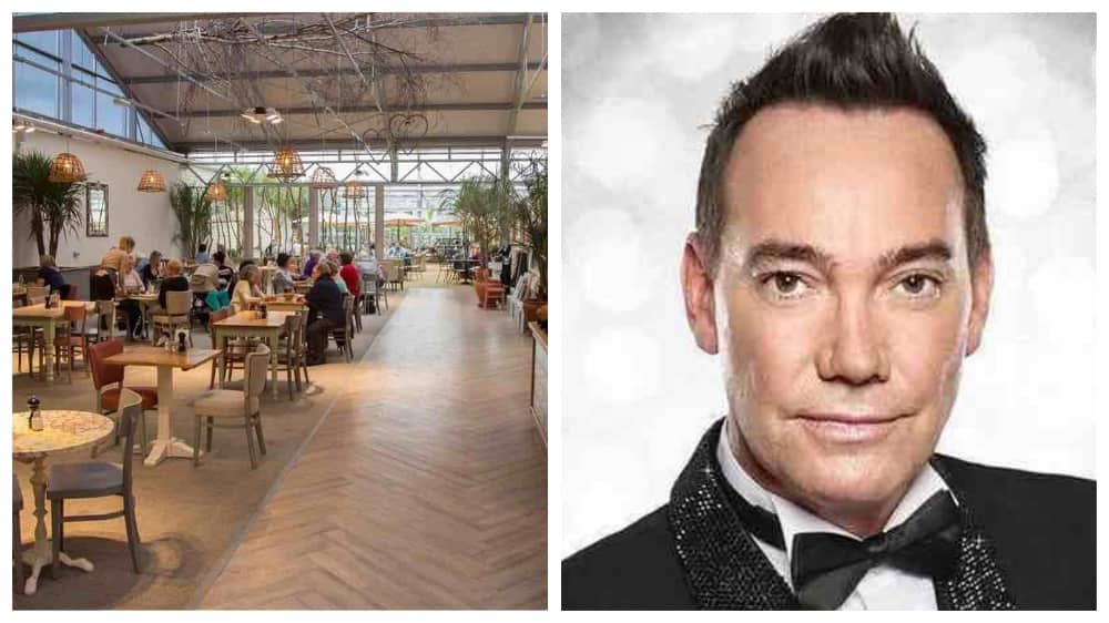 strictly Coming Dancing judge Craig Revel Horwood and Rosebourne Aldermaston restaurants with wicker pen cant shades, wood flooring and lots of plants