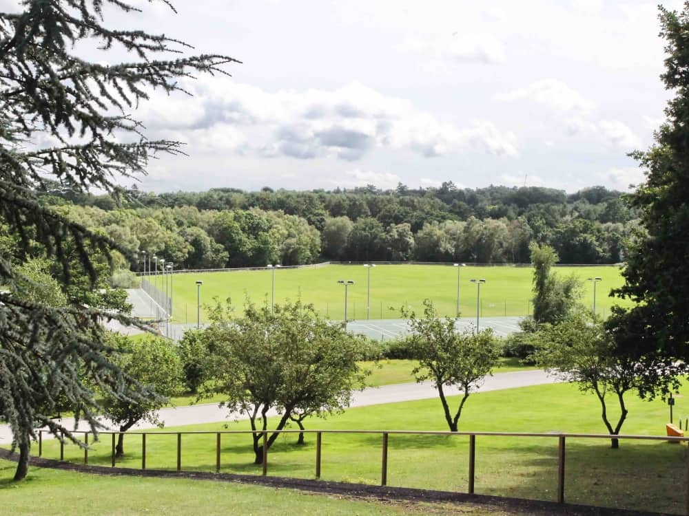 St George's Ascot Berkshire 32 acres playing fields with trees lacrosse pitches and floodlit netball and tennis courts