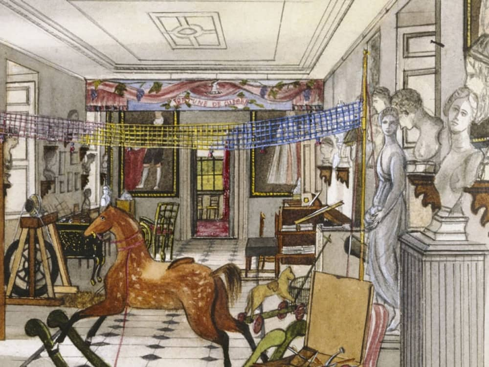 National Trust The Vyne Hampshire artist impression of new rooms as they would look in Victorian times statues rocking horse and net across the room