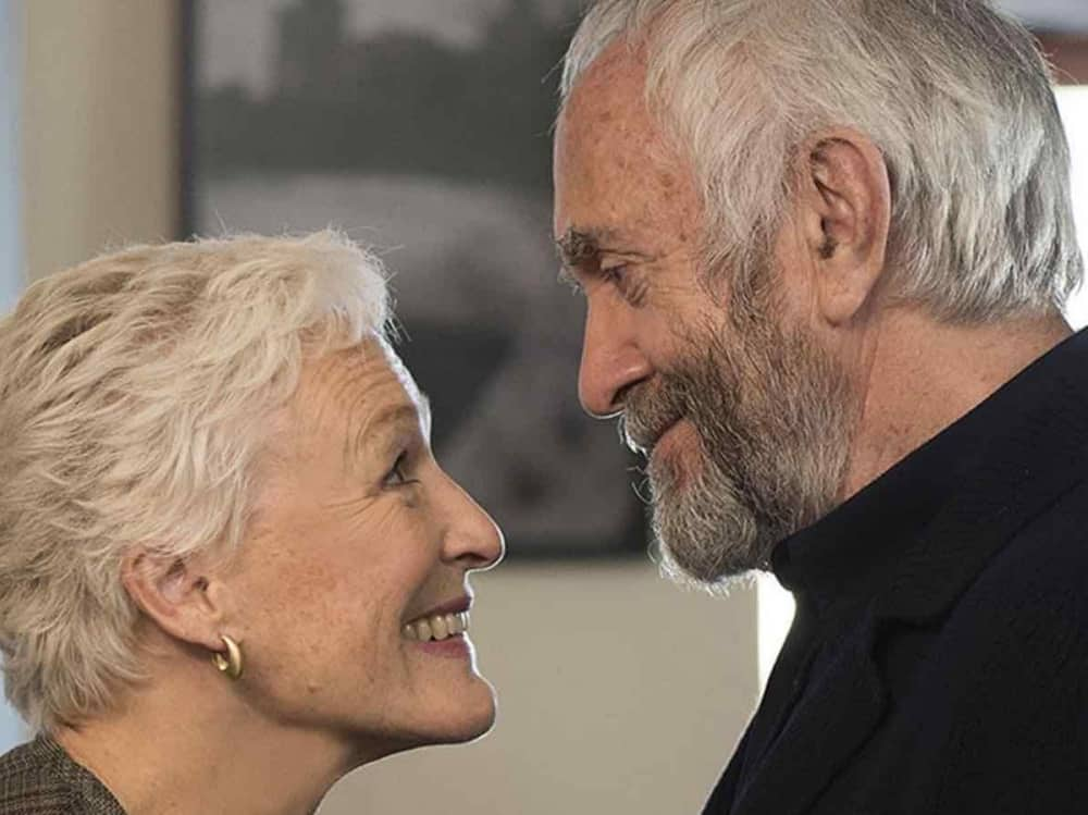 The Wife Sony Pictures actors Glenn Close Stephen Jonathan Pryce look into each others eyes