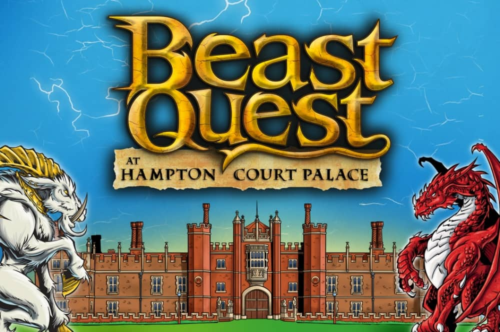 Illustration Hampton Court Palace white beast and red dragon Beast Quest logo
