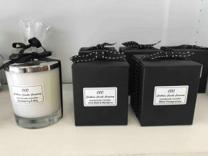 Craft coop Maidenhead Bookham candles black packing and clear glass candle with silver lid