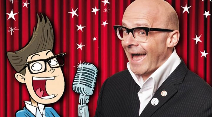 Comedian Harry Hill bald head horn rimmed glasses big white collared shirt and cartoon avatar of himself