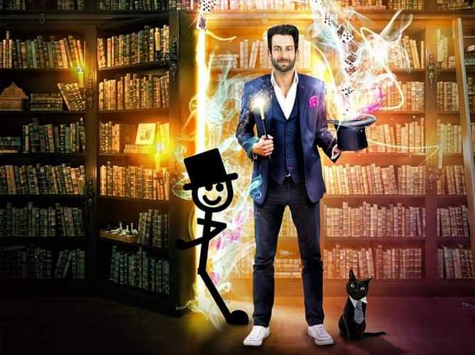 Magician James Raven surrounded by book top hat and illustrations of magic stick man and a cat