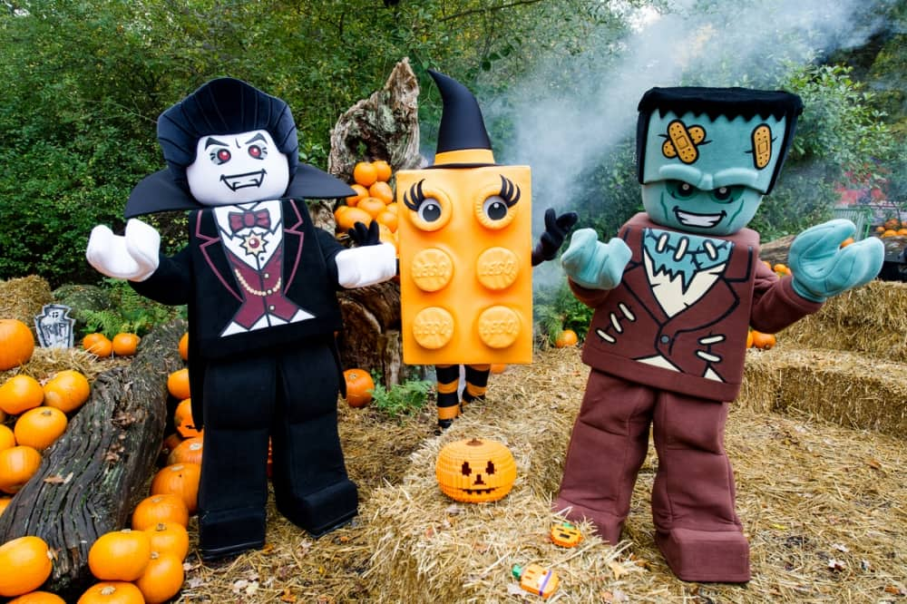 Lifesize Lego Halloween figures dracula orange lego brick with lashes and witches hat and frankenstein