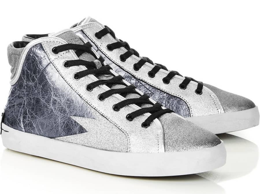 Crime London Blue metallic high tops trainers with explosion flash