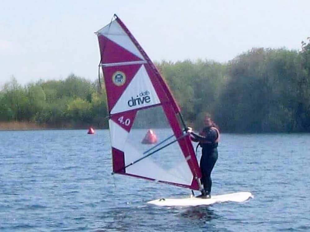 Muddy Stilettos Editor Rachel Jane windsurfing