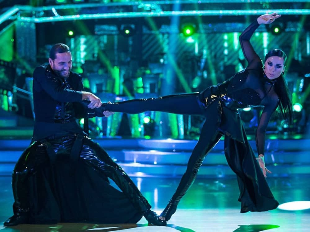 Comedian Seann Walsh and pro dancer Katya Jones matrix style Paso Doble Strictly Come Dancing BBC1