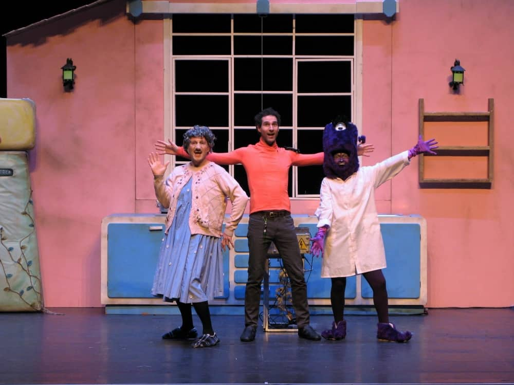 There was an old lady who swallowed a fly stage show pink room actors dressed as old lady, a fly
