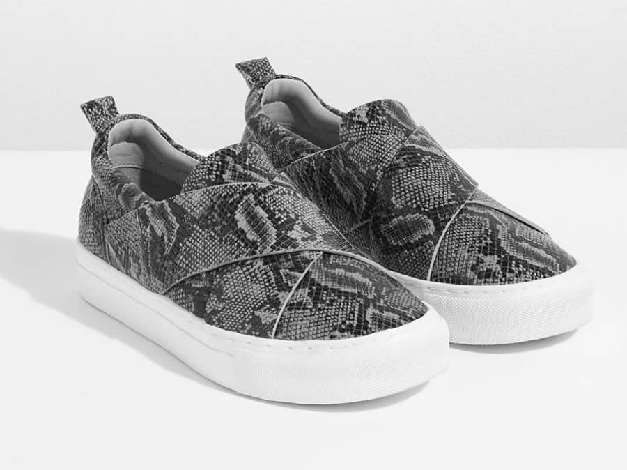 Grey snake print leather slip on trainers