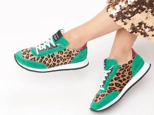 LK Bennett Leopard print and green trainers