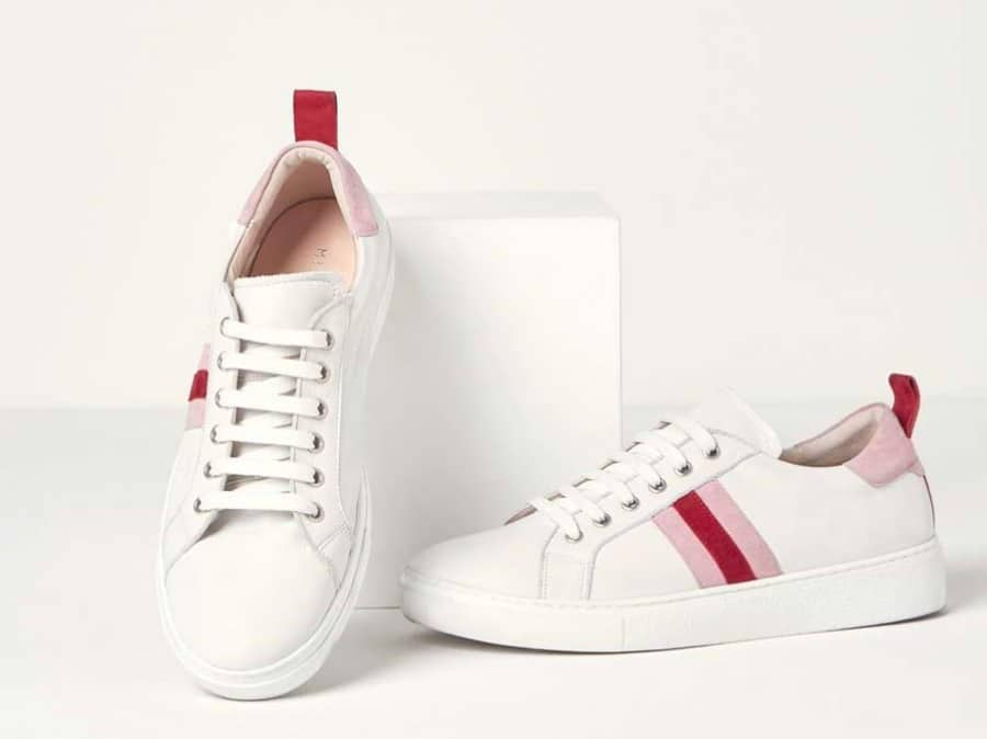 Mint Velvet white trainers with pink and red side stripe
