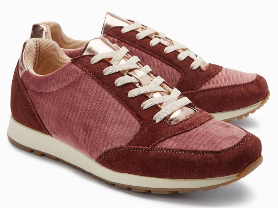 Next pink and b burgundy trainers with cream laces