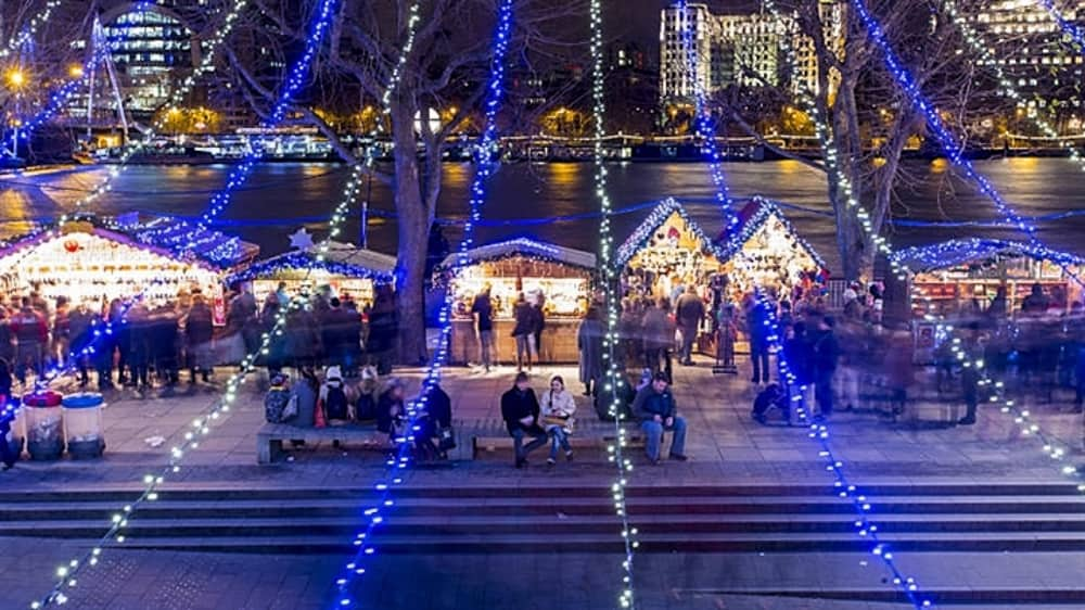 southbank winter festival rLondon riverbank and fairylights