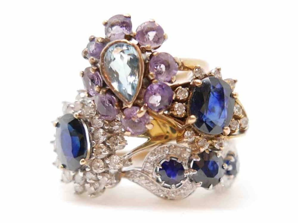 Antique Jewellery Boutique cluster of vintage sapphire and diamond rings