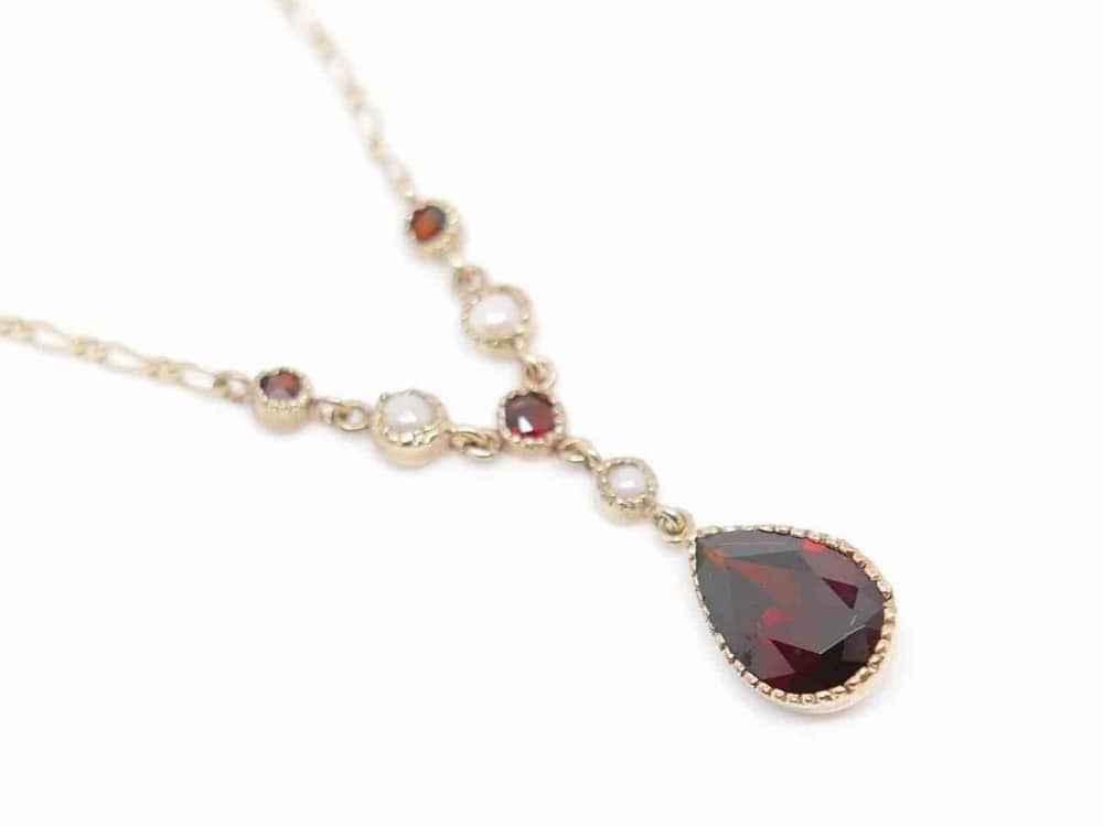Garnet and pearl necklace gold chain antique Jewellwey Boutique