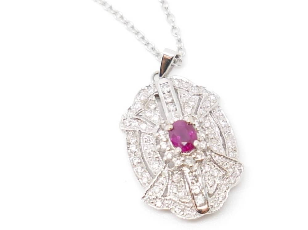 Diamond and ruby antique necklace Antique Jewellery Boutique