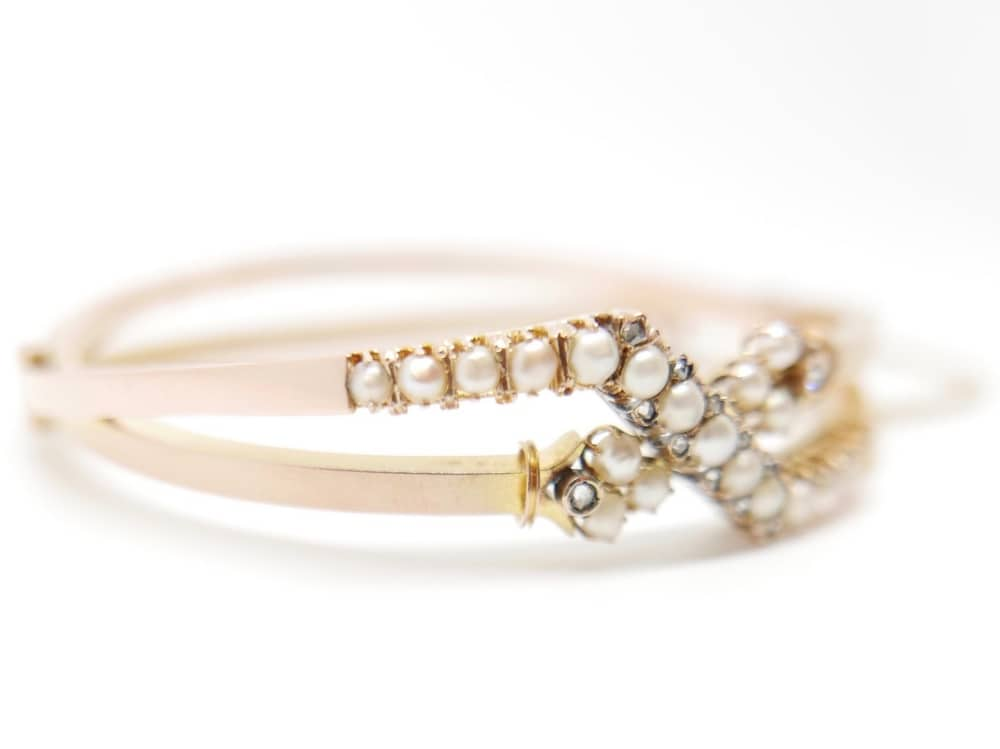 Gold pearl and diamond vintage bangle – antique Jewellery Boutique