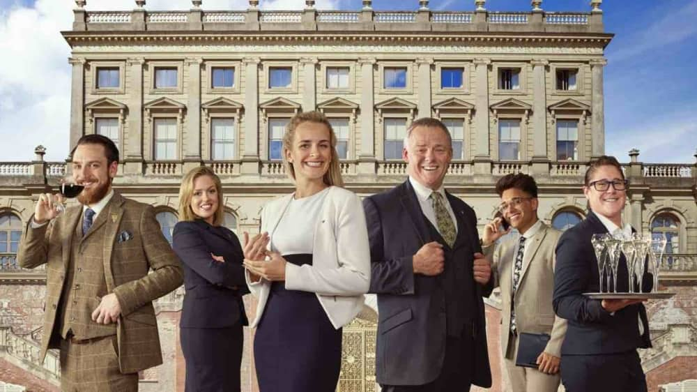 Cliveden House Hotel staff stood in front of historic Italianate mansion Taplow Berkshire A Very british Country House Channel 4