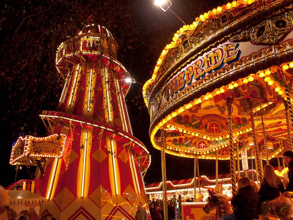 hyde park winter wonderland illuminated heater skelter and fairground ride London