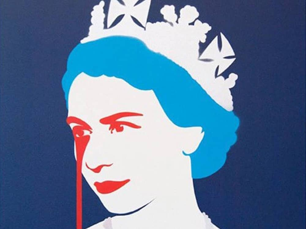 Pure Evil print of Queen blue with red paint pouring out of one eye