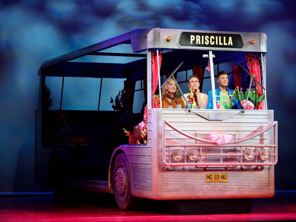 Priscilla queen of the desert UK theatre tour,. bus on stage