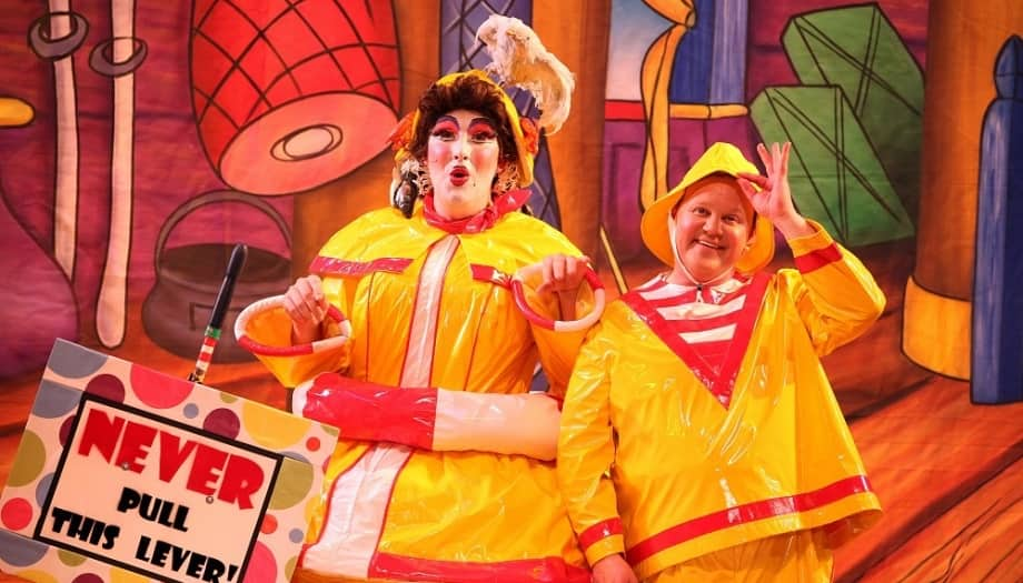Cbeebie star Justin Fletcher and dame Paul Morse in yellow and red waterproof outfits on set of Peter Pan Reading Hexagon Theatre Berkshire 2017