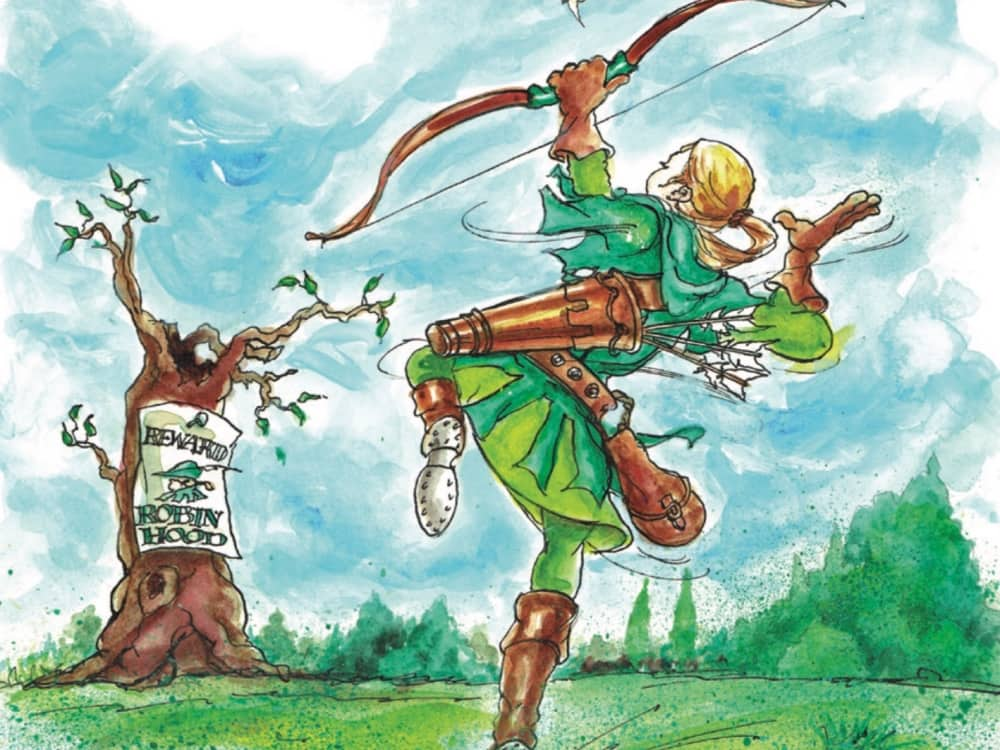 Illustration of Robin Hood shooting a bow and arrow to a tree with wanted poster