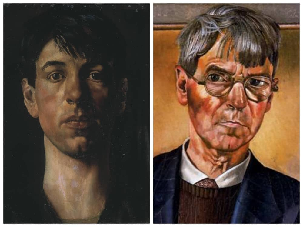 First self portrait of british artist Stanley Spencer and one of the last