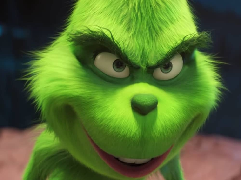 The Grinch face played by benedict Cumberbatch