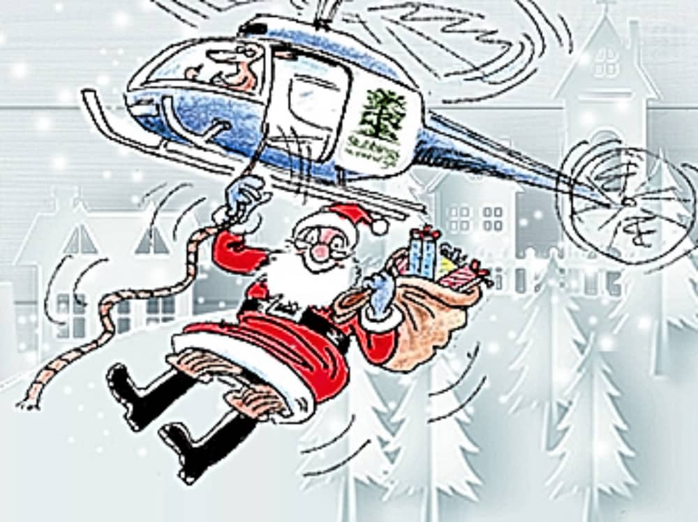 Illustration of Santa hanging out of a helicopter