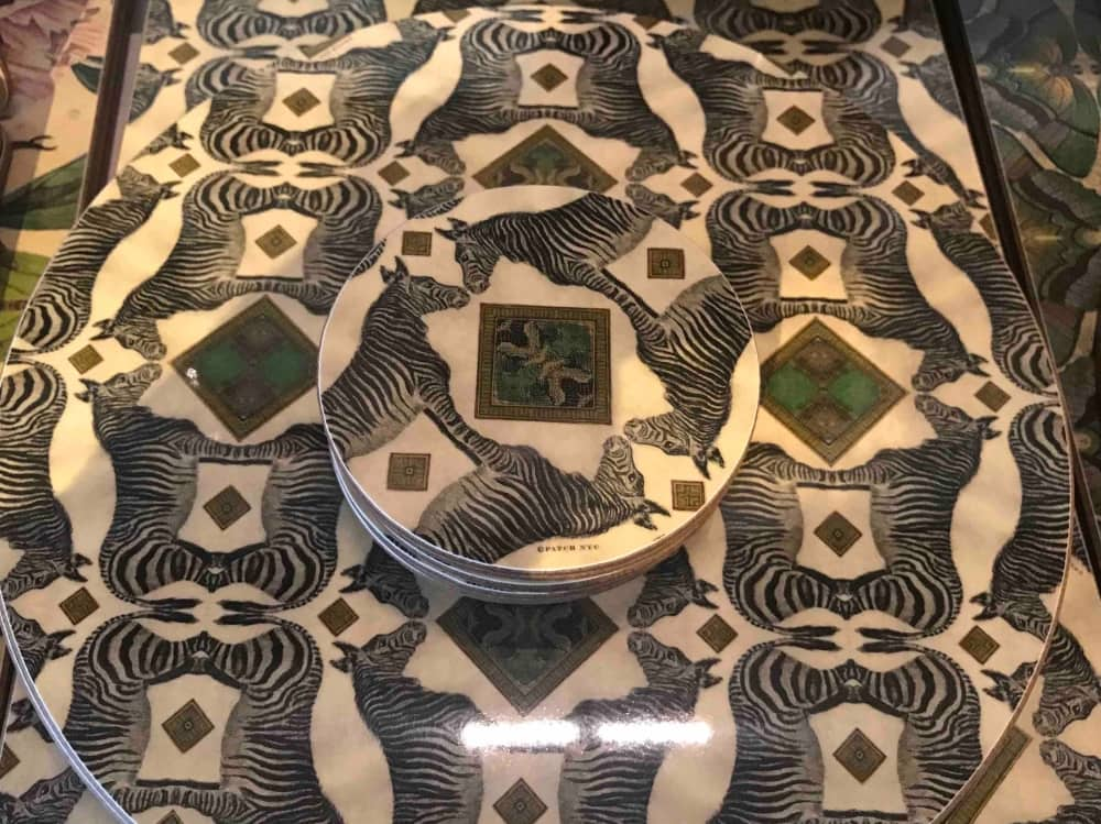 Zebra optical illusion placemats and coasters the Corner Shop Woolhampton
