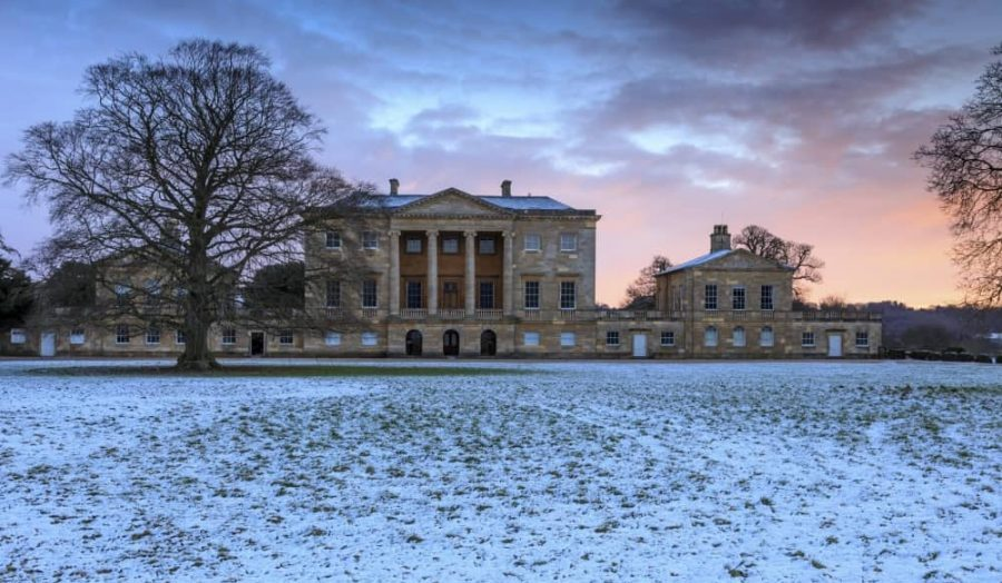 Basildon Park Georgian national trust house and snow covered parkland