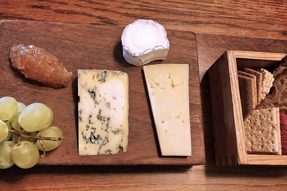 selection of cheeses on board at Crown at Bray Heston Blumenthal