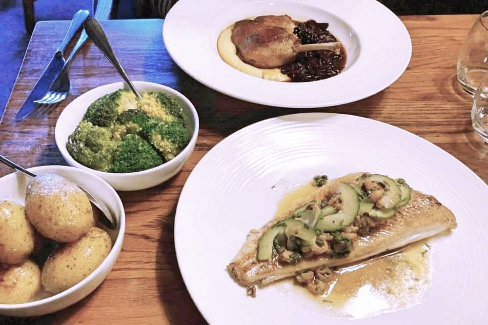 Confit of duck and plaice with broccoli and potatoes The crown at Bray Heston Blumenthal
