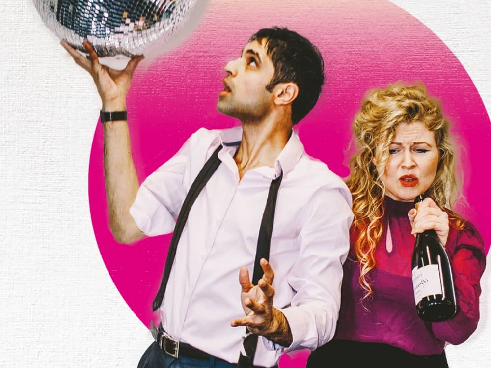 PopMusic blonde woman drinking prosecco out of bottle, man in white short holding a glitter ball