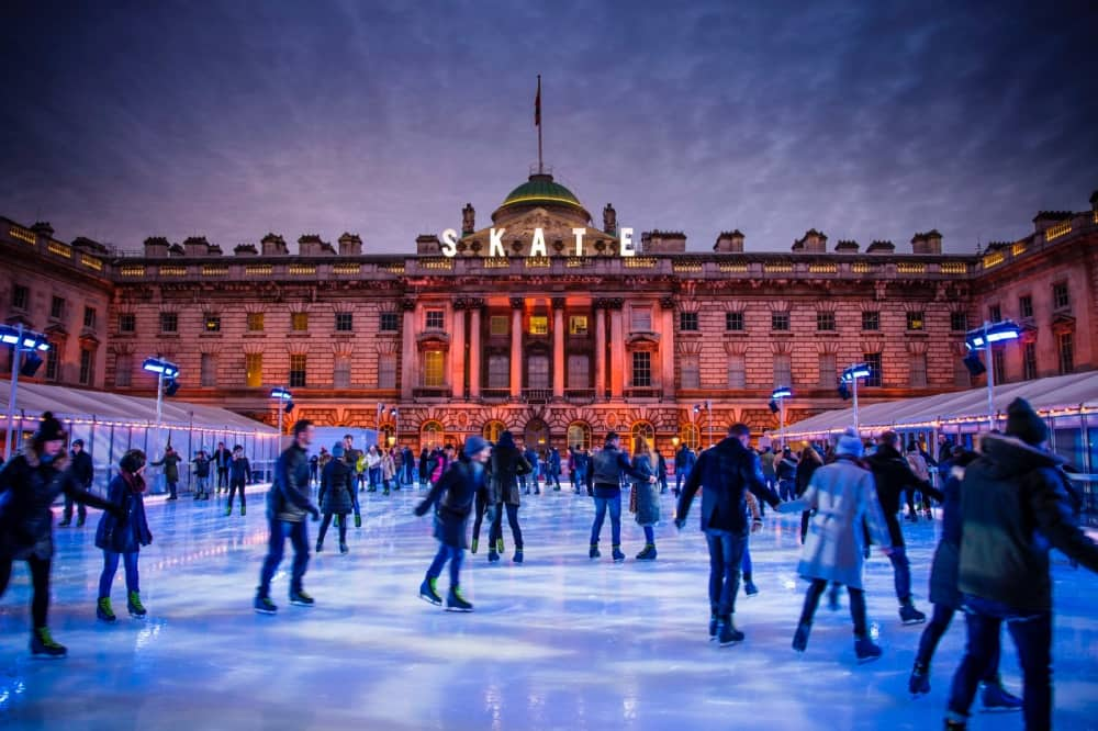 Somerset House London Ice Rink at night