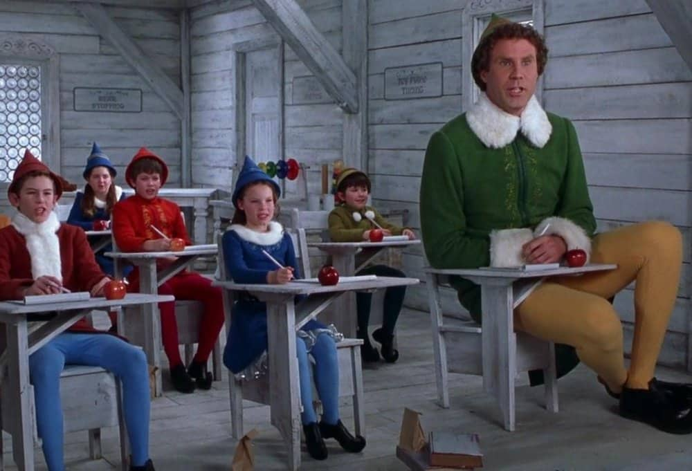 Elf the movie will Ferrell big elf in classroom with classmates of kids