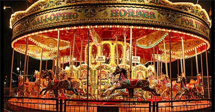 Victorian carousel galloping horses Hungerford Extravaganza