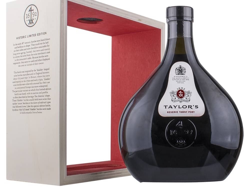 Taylor's Tawny Reserve port bladder bottle and wooden display box
