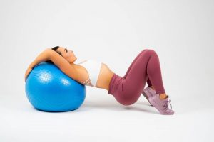 My Fit Zone woman leaning back on exercise ball