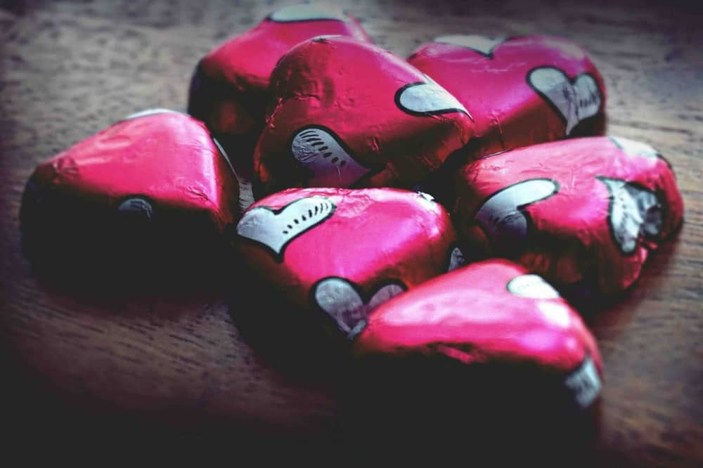 pink foil covered chocolate hearts