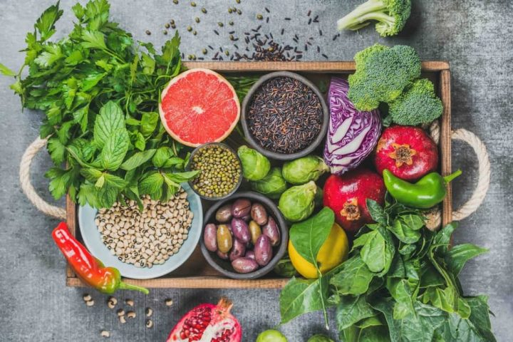 healthy eating box of fruit veg seeds and nuts